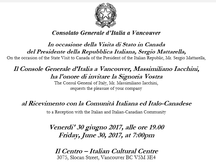 Invito visita Presidente Mattarella a Vancouver
